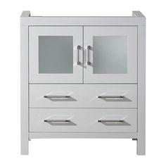 @Overstock   Virtu USA Dior 30 Inch White Single Sink Cabinet Only Bathroom  Vanity