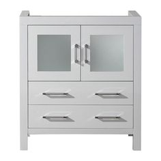 @Overstock - Virtu USA Dior 30-inch White Single Sink Cabinet Only Bathroom Vanity - Virtu USA 30-inch Dior single sink vanity is the essence of beauty with clean lines and quality material. This Dior comes with two soft closing doors and drawers, and satin nickel hardware with chrome highlights handles.  http://www.overstock.com/Home-Garden/Virtu-USA-Dior-30-inch-White-Single-Sink-Cabinet-Only-Bathroom-Vanity/8910994/product.html?CID=214117 $618.99