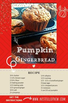 Why does pumpkin seem to make everything better? I'm in love with gingerbread and pumpkin bread, but Pumpkin Gingerbread? Holy cow! And this one adds crystallized ginger as a bonus boost of flavor. Both ginger and pumpkin are really good for you, so if you make the few little adjustments mentioned in the recipe, you actually have something you can eat *almost* guilt-free! (I recommend the portion-controlled muffin version.) | #pumpkinbread #recipe www.nestfullofnew.com