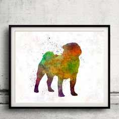 Pug 01 in watercolor  Fine Art Print Glicee by AnimalArtPosters