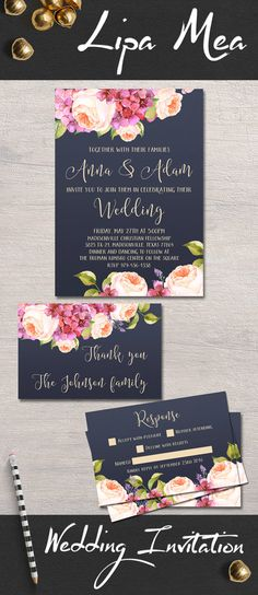 Printable Wedding Invitation, Floral Wedding Invitations, Hydrangea and Peony Wedding Invitation, Pink & Navy Boho Wedding Invite, Modern Watercolor Peonies Invitation, DIY wedding Ideas. Wedding Planning. Matching signs, bridal shower invitation and games available at: lipamea.etsy.com