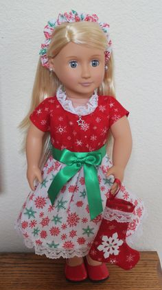 18 Inch Doll Clothes Red Snowflake Christmas Dress fits most 18 inch Dolls by Sariahsdollcloset on Etsy