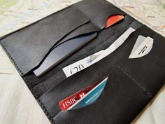 Passport & Boarding Pass Case / Wallet - Leather - Hand Stitched