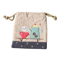 Cotton Cartoon Cloth Art Pockets Cosmetic Bag Storage Bag Bag Storage, Cosmetic Bag, Baby Kids, Burlap, Maternity, Reusable Tote Bags, Cosmetics, Pockets, Cartoon