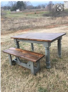 Farmhouse Style Table, Custom Wood, Picnic Table, Wood Table, Dining Table, Bench, Rustic, Colors, Handmade