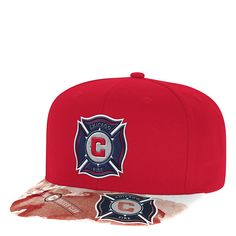 b2e6d26e470ee3 adidas MLS Chicago Fire Adult Men Sublimated Flat Brim Snapback Hat, $18.85