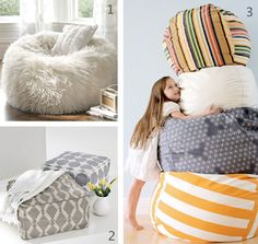 DIY Poufs or bean bags! Needs to happen ASAP for my house!