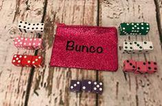 12 Bunco Dice in Glitter Pink Zippered Bag by TheBuncoEuchreQueen