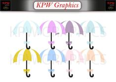Pastel Umbrellas Clip-art Set 2 in a PNG format. Personal & Small Commercial use Umbrellas, Commercial, Pastel, Clip Art, Digital, Handmade Gifts, Etsy, Home Decor, Kid Craft Gifts