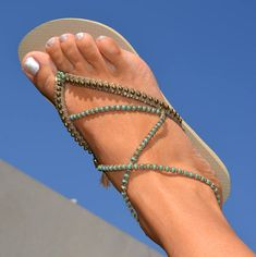 Turquoise & Bronze Boho Sandals, Beaded Havaianas Flip Flops, Women Flat Shoes, Thong Sandals, Ankle Bracelet based on Beige Havaianas -100% Handmade. You can decorate your hands, ears, neck but also … your feet! These are an absolutely unique Must Have Flip Flops!!! The combination