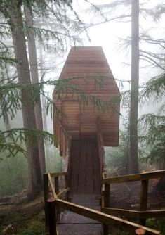This wooden treehouse houses an artists' studio in Glen Nevis, Scotland.