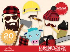 Lumberjack Party Photo Booth Props  Photobooth par PaperBuiltShop