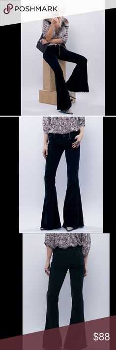 """Free People Velvety Corduroy Stretch Flare 28 Free People black Velvety Corduroy Raw Hem Stretch Super Flare Jean Pant low rise with exaggerated flares just like the FP denim version New Without Tags  *  Size:  28  * there is a line through the tag to prevent store return  98% cotton * 2% spandex  8"""" rise 35"""" inseam Free People Jeans Flare & Wide Leg"""