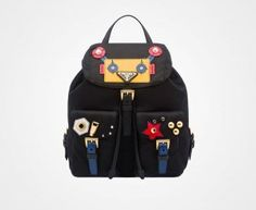 Prada 2016 Travel Bags Cheap Sale- Prada Fabric Backpack with Robot Motif Leather and Metal Appliqués