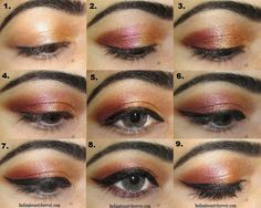 Coppery gold Eye makeup Tutorial step by step, eye makeup ideas for indian traditional wear