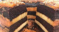 Torta flan de chocolate, pastelera, vainilla y café