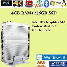 (402.49$)  Buy here - http://ai88a.worlditems.win/all/product.php?id=32767026370 - 7th Gen Intel Core i5 7200U Win10 Mini PC Max 3.1GHz Fanless Nuc HTPC Intel HD Graphics 620 4K TV Box  4GB RAM 256GB SSD usb 3.0