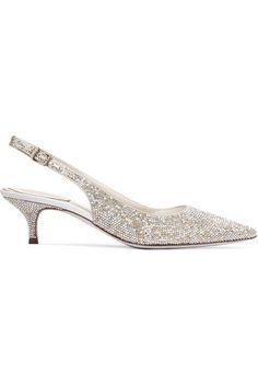 René Caovilla - Swarovski Crystal-embellished Satin Slingback Pumps - Silver - IT38