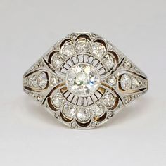 Rare Russian Antique 1.41ct t.w. 1900's Lacey Old European Cut Diamond Ring 18k Sterling Silver | Antique & Estate Jewelry | Jewelry Finds