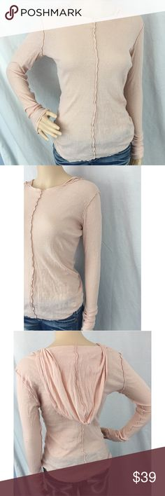 FREE PEOPLE Intimately. Peach Long-Sleeve. S. FREE PEOPLE Intimately line. Peach long-sleeve hooded tee. Thin/sheer. Size Small. Great Value! You have great style! Free People Tops Tees - Long Sleeve