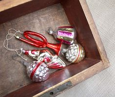 Five Vintage Russian Christmas Tree decorations...