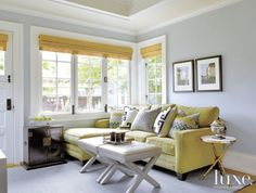 Gray Transitional Craftsman Family Room