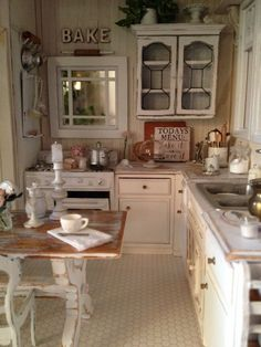 small shabby chic kitchen with a distressed kitchen table