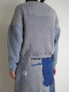 sashiko sweater and skirt