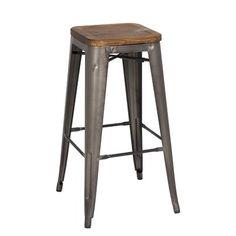 Metropolis Metal Backless Bar Stool with Wood Seat | Wayfair
