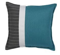 Coussin Cabanon rayure vertical + recto & verso turquoise 45x45 - Autrement dit