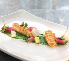 Sjøkreps, estragonkrem og saltbakt sjalottløk   Appetitt Tuna, Meat, Ethnic Recipes, Gourmet, Atlantic Bluefin Tuna