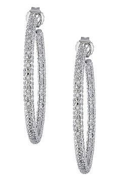 Sterling Silver Pave Diamond Hoop Earrings