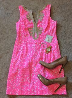 "Lilly Pulitzer Dream Dress l Lilly Pulitzer Janice Shift Dress in ""Cosmo Pink Mini Party Favors"" (Summer 2013)"