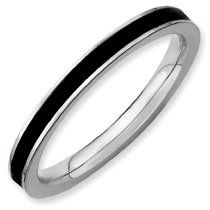 Fiery Nice Silver Stackable Black Enamel Ring. Sizes 5-10 Available Jewelry Pot. $14.99. 30 Day Money Back Guarantee. 100% Satisfaction Guarantee. Questions? Call 866-923-4446. Fabulous Promotions and Discounts!. Your item will be shipped the same or next weekday!. All Genuine Diamonds, Gemstones, Materials, and Precious Metals. Save 67%!