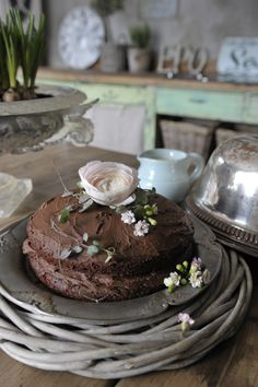 rustic choc garden cake ... just the pic.   Perfect for Mothers Day, Birthday, Garden Tea