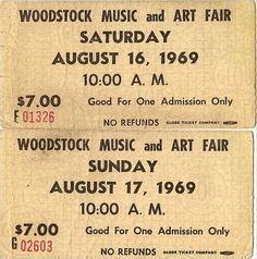 Woodstock tickets,1969