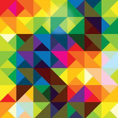 A multi coloured Geometric Design. It would be fun to potentially cluster shades of colour together to also see the effect as opposed to a mix of colours and tones
