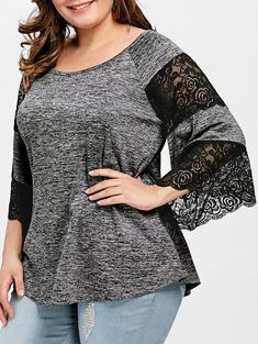 Material: Polyester : Shirt Length: Regular : Sleeve Length: Three Quarter : Collar: Scoop Neck : Style: Casual : Season: Fall/Spring/Summer/Winter : Sleeve Type: Flare Sleeve : Embellishment: Lace/Panel : Pattern Type: Solid : Elasticity: Elastic : Weight: 0.255 kg : Package Contents: 1 x T-shirt: