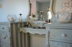 Chalk Paint Annie Sloan Duck Egg Blue 1940's Vanity Old White Fredericksburg Virginia