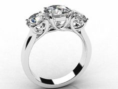 """18ct White Gold Trilogy Ring... the perfect way to say """"I love you""""   ♥ Custom made Engagement Rings #engagementringexactlyyou..! Contact us now to design your own unique ring. peggy@studioc.co.za."""