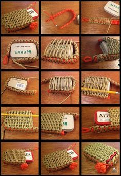 Survival tin paracord pouch – or it can also be used to hold a deck of cards, EDC tools or whatever else you can fit neatly inside and still close up. Rope Knots, Macrame Knots, Diy Cadeau Noel, Paracord Tutorial, Pouch Tutorial, Parachute Cord, Paracord Projects, Edc Tools, Paracord Bracelets