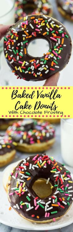 These baked vanilla doughnuts with chocolate glaze…