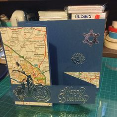 Men's motorcycle and map card