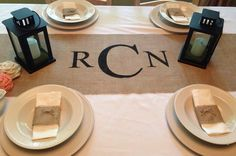 monogrammed-burlap-table-runner.jpg 570×379 pixels