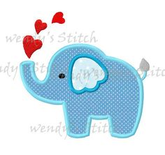 Love elephant applique machine embroidery digital por WendysStitch
