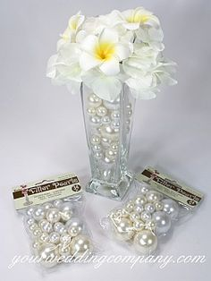 Add the elegance of pearls to your wedding decor, bridal bouquet, centerpieces and more! Each pearl is pre-drilled so you can easily string them or create bouquet picks.
