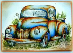 This is by Suzanne Dean and I just love all the details.  She used diamond glaze on the windshield and added some glitter.