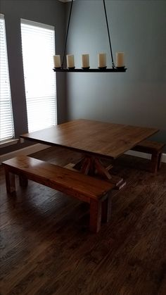 "This 60"" Square Table features a custom X-Base and smooth Jointed Top in Early American Stain. Two Farmhouse Benches compliment this table and we are loving this dining space! Dining Room, Good Lighting, Bench, Solid Wood, Made in the USA, Customizable Table, Custom Built, Farmhouse, Rustic, American, Home"
