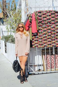 Spring fashion vibes on The Hundred Blog Today. Wearing blush, booties and black leather backpacks. Forever 21, Nasty Gal and Ray Ban. http://www.hundredblog.com/chatter/springvibesblush