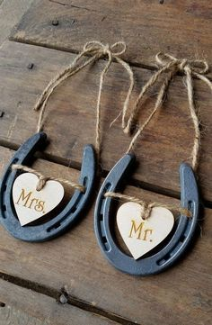 Wedding Chair Signs Horseshoe Wedding Decor by DownInTheBoondocks